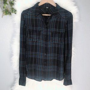 PAIGE JEANS Plaid Mya Shirt Button Down  XS